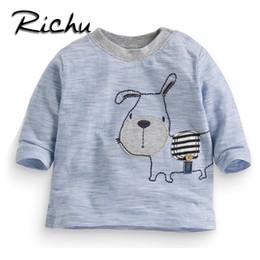 T-shirts rayés pour filles en Ligne-Richu 100% coton à manches longues bébé garçons t-shirts filles tops 2dshirt sweat bébé garçon enfants chemises tout-petits rayé funny animal tees tops