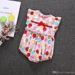 patrón de traje de las niñas Rebajas Chicas recién nacidas Pink Romper Fruit Pattern Mono Dot Bodysuit Summer Lovely Kid Clothing 2018 Apple Pear Pineapple Baby Mono corto 0-24M