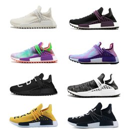 Wholesale red lawn - Human Race Running Shoes pharrell williams Hu trail Cream Core Black nerd Equality holi nobel ink trainers Mens Women Sports sneaker
