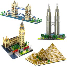 Wholesale Mini Worlds - YZ Mini Blocks World Famous Building DIY Building Bricks London Tower Bridge Kids toys Petronas Towers Architecture YZ056-YZ059