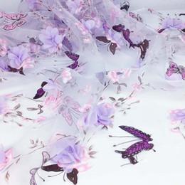 pátio de pano Desconto 1 Yard Tecido De Costura De Vestuário para o Vestido, Largura 130 cm, Africano Chiffon Flor Cortina De Organza Tecidos, Rendas Bordado Diy Pano