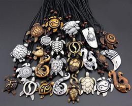 2019 счастливое ожерелье для мужчин Mix заказ Mix стиль мода мужчины женщина имитация Як кости резные повезло серфинг морские черепахи подвески ожерелье 30 шт. / лот дешево счастливое ожерелье для мужчин
