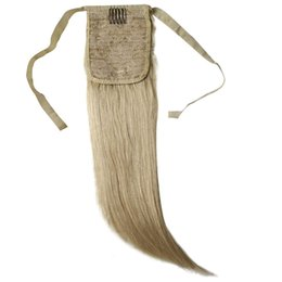 """Wholesale Ponytail Extensions Ribbon - 100g 16""""-26"""" Machine Made Remy Hair Ribbon Ponytail Clips-in Human Hair Extensions Horsetail Natural Straight Hair Ponytail"""