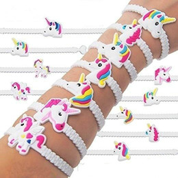Wholesale Wristband Pvc - Factory Dirct Environmental Protection Soft PVC Cartoon Unicorn Silicone Bracelet Kids Unicorn Wristband Party Rubber Band 11 Designs a lot