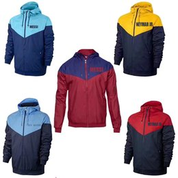 Wholesale Blue Trench Coats - trench coat 2017 2018 MAN CIT Soccer trench coat 2017 2018 Soccer Windbreaker kun aguero MESSI NEYMAR JR 2017 2018 football Windbreaker