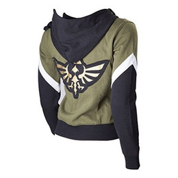 Wholesale Legend Zelda Hoodie - Womens The Legend of Zelda Crest of Hyrule Zip Up Hoodie - Hooded Top Sweater