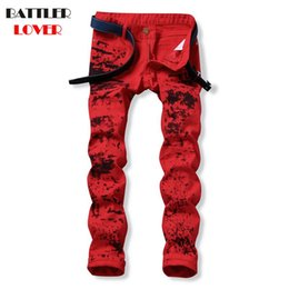 Wholesale Motor Jeans - Motor Skull Jeans Men Fear of God Biker Jeans Cotton Trousers Mens Hip Hop Ripped Pant Male Casual Luxury Brand Slim Pants