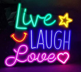 Viva, amor, riso, decoração on-line-Sinais de néon Presente Vivo Rir Amor Real Bar De Cerveja De Vidro Loja Pub Pub Festa Homeroom Decor 19X15