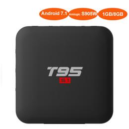 Meilleurs films 3d en Ligne-Android7.1 TV Box avec écran à LED Amlogic S905W Quad Core T95 Smart Smart Mini PC pour Home Movie 3D 4K Meida Player 2.4G Wifi décodeur