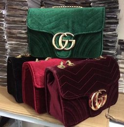 Wholesale Italian Handbags - New high quality Marmont velvet bag women famous brand shoulder bags real leather chain crossbody bag winter fashion handbags Italian