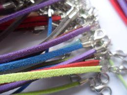 Wholesale wholesale suede necklaces - 100pcs lot Suede Cord Mix Colour Korean Velvet Cord Necklace Rope chain Lobster Clasp DIY Jewelry Making