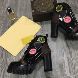 Wholesale cowboy boots sizing - winter women knight boots brand ms Martin boots flamingos medal with high genuine leather ankle shoes coarse with Martin boots size 35 to 41