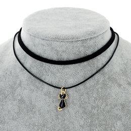 Wholesale Faux Suede Necklace - whole saleNew Cute Black Cat Pendant Chokers Necklaces for Women Black Double Layer Faux Suede Leather Short Necklaces Fashion Jewelry