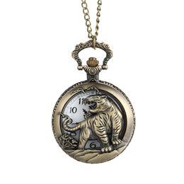 Wholesale men chinese necklace - Brown Pocket Watch Men'S Vintage Tiger Hollow   Carved Quartz Pocket Watch Necklace Pendant Chinese Zodiac Women Men Gift@88