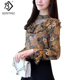 d178f565bb7c5 Elegance 2018 Women Fashion Spring Hollow Out Ruffles Print Shirts Flare  Long Sleeves Stand Collar Blouses Plus Size 3XL T82101A ruffle collar  blouse plus ...