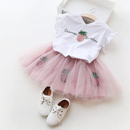 Wholesale Girls Butterfly Shirt - Summer Baby Girl Clothes Clothing set Lovely Butterfly Sleeve T-Shirt Fruit Pineapple Sequins TUTU Skirt Outwear