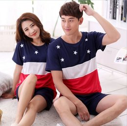 Fashion Summer Couple Pajamas Home Suit Men Women Stitching color  Five-pointed star printing Round Neck Short sleeve Sleepwear a1a485020