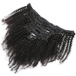 synthetisches peruanisches weben Rabatt 120g 8 stücke pro satz 4a 4b 4c Afro Verworrene Lockige Remy Haarspange in Extensions Brasilianisches Menschenhaar Clip ins für Afroamerikaner
