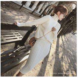 Twist Knitted 2 Piece Set Women Long Sleeve Turtleneck Pullover Sweater +  Split Pencil Skirt Set Lady Runway Knitting Skirt Suit 58013858e