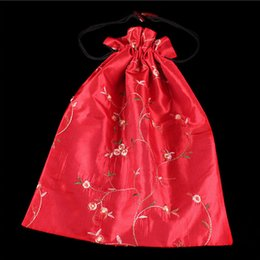 Wholesale Silk Chinese Drawstring Pouch - 27*37cm Chinese Handmade Embroiderd Floral Silk Shoe Bags Portable Drawstring Travel Storage Bags Pouch Free Shipping ZA5726
