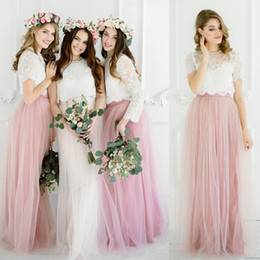 Wholesale Lace Bridesmaid Dresses Jacket - Pink Lace Tulle Bohemian Bridesmaid Dresses 2018 Beach Bridesmaid Gowns With Vest Jacket Tulle Skirt Blue Purple Silver Maid Of Honor