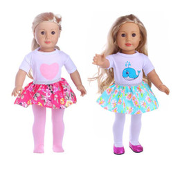 Wholesale Doll Clothes Skirt - 1 Set=Shirt+Skirt+Pants Fit 18 inch American Girl Doll Suit Clothes For 43cm Baby Born Zapf Doll Accessories Children Best Gift