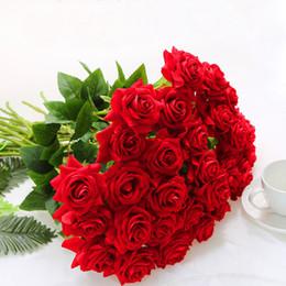 Rose artificiali di plastica online-15pcs Artificiale Rose Fiori Artificiali Per La Decorazione Domestica Accessori Decor Tavolo Di Plastica Fiore Finto Flores Artificiales
