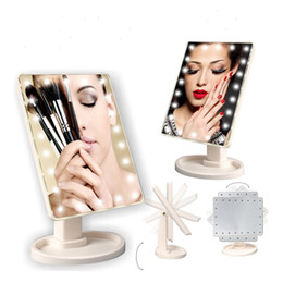 Wholesale Rotating Plate - LED Touch Screen Makeup Mirror Professional Compact Mirrors With 16 22 LED Lights Luminance Adjustable 360 Rotating J1430