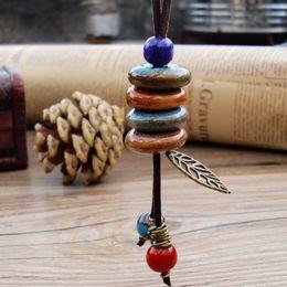 Wholesale Weaving China - Ceramic Bracelet Wave Retro Chinese Style Long Hand-woven Ethnic Style Leaves Porcelain Beads DIY Creative Fashion Gift Jewelry Wholesale