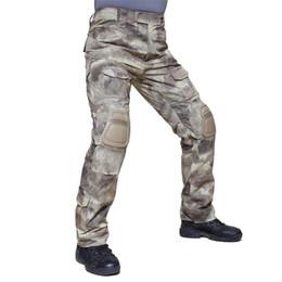 Joelho pad carga calças on-line-2020 Calças New Men militar com joelheiras calças cargo Plus Size soldado do Exército calças dos homens táticas Calças