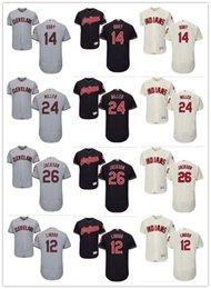 Wholesale indian customs gold - custom Men's Cleveland Indians Jersey 12 Francisco Lindor 14 Larry Doby 24 Andrew Miller 26 Mike Napoli 26 Austin Jackson Baseball Jerseys