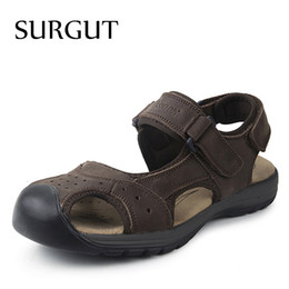 Wholesale Comfy Shoe Brands - SURGUT New Fashion Summer Sandals Men Shoes 2018 Brand Breathable Quality Leather Beach Sandals Comfy Simple Men's Shoes