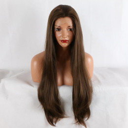 Wholesale Synthetic Lace Wig Hairline - Lace Front Wigs Mixed Brown Women Lace Front Wigs 26 inches Long Straight Heat Resistant Synthetic Hair Natural Hairline Wigs kabell wig