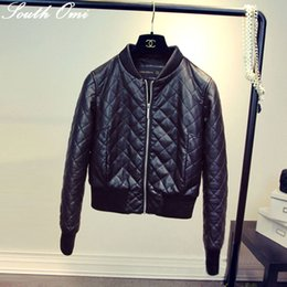 e21ad868784 Quilted Lozenge Winter Jacket Cotton Down Women s Slim Motorcycle Leather  Jacket Autumn Winter Women PU Leather Coat Black pink