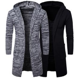 Cardigan de moda coreano online-Solid Cardigan con capucha Autumn Men Sweater Fashion Korean Style Long Sleeve Cardigan con capucha larga masculina Slim fit Casual Winter con capucha suéter