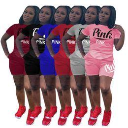 Wholesale short sleeve girls - women girls summer PINK Letter shorts suit 2pcs set short sleeve T-shirt Shorts pants pink Outfits Tracksuit Sportswear suit KKA4803