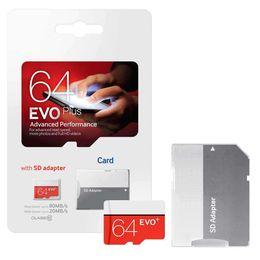Carta di passaggio online-2020 100% OK Pass H2testw Real Full Capacity EVO Plus + 32GB 64GB 128GB 16GB 8GB C10 TF Scheda di memoria flash Classe 10 Adattatore SD gratuito DHL FedE