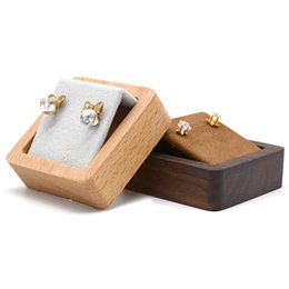 Holzvitrine stehen online-Holzbasis Ohrring Ausstellungsstand Walnut Buche Massivholz Schmuck Ohrstecker Zähler Showcase Regal Messe Ausstellung Ausstellungshalter