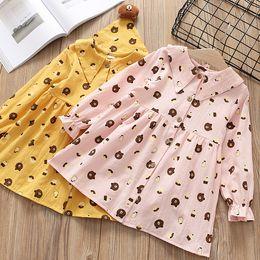 Wholesale Collar Bear - Spring children dresses girls cute bear printed dress kids lapel falbala sleeve dress pink girls single breasted princess dress R1892