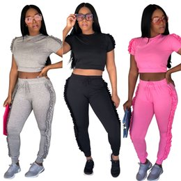 decorazioni del club Sconti Abiti primaverili Hot Fashion Crop Top Due set Decorazione in pizzo lato irregolare Sexy Night Club Tuta S-2XL Taglia