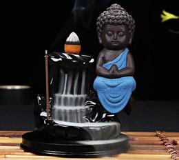Poco uso online-Cono de incienso Quemador Decoración para el hogar creativo El Pequeño Monje Pequeño Incensario de Buda Incensario Quemador de incienso de uso en casa Casa de té