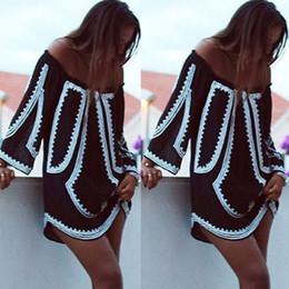 Argentina 2018 mujeres sexy vestido de ropa de verano informal off slash hombro fiesta playa negro casual breve suelta vestido corto moda dama cheap briefs for short dresses Suministro
