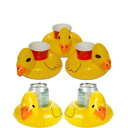 Wholesale inflatable yellow duck - New Inflatable Cup Holder Inflatable Coasters Duck Drink Cups Holders Floating Bar Coaster Small Yellow Ducks Floats