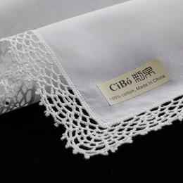 D001: lenços de renda de algodão branco premium 12 peças / pack em branco crochet hankies para mulheres / senhoras presente de casamento de