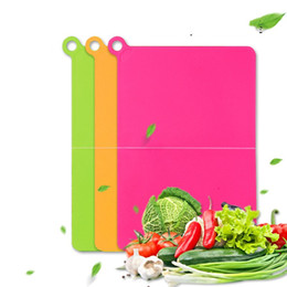 Wholesale Outdoor Blocks - Portable Outdoors Travel Cutting Board Cat Ear Hang Folding Plastcic Chopping Blocks For Vegetables Meat Fruits Cut Cooking Tool 6hd Y