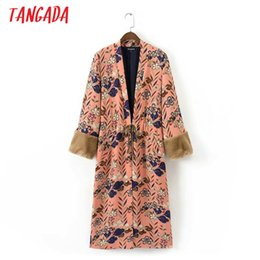 Wholesale Japan Style Kimono - Tangada Fashion Women 2017 Vintage Drawstring Floral Print Japan Style Long Trench faux fur Patchwork Sleeve Kimono Coats QB