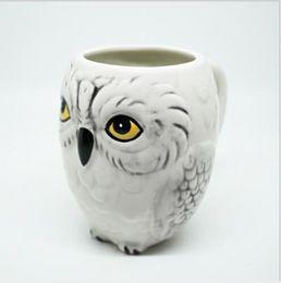 Wholesale White Tea Cups Wholesale - 350ml mugs Hedwig Owl Mug Ceramic Mug Coffe Cup Xmas Gift Collection Breakfast milk cup Office tea cups