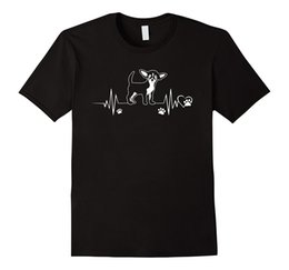 2019 vestiti di chihuahua maschile T-shirt per cani Chihuahua battito cardiaco, maglietta per cani zampa battito cardiaco Maglietta per uomo T-shirt di moda per uomo Abbigliamento Uomo Maglietta per uomo più venduta vestiti di chihuahua maschile economici