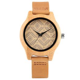 Wholesale Trendy Fashion Watches - Casual Lady Bamboo Watch Yellow Genuine Leather Strap Creative Clock Valentine's Day Gift Trendy Quartz relogio feminino