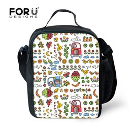 Wholesale Children Picnic Bag - FORUDESIGNS Europe and US Style Printing Picnic Bags Portable Outdoor Sport Children Women Snacks Tote Thermal Bag With Zipper